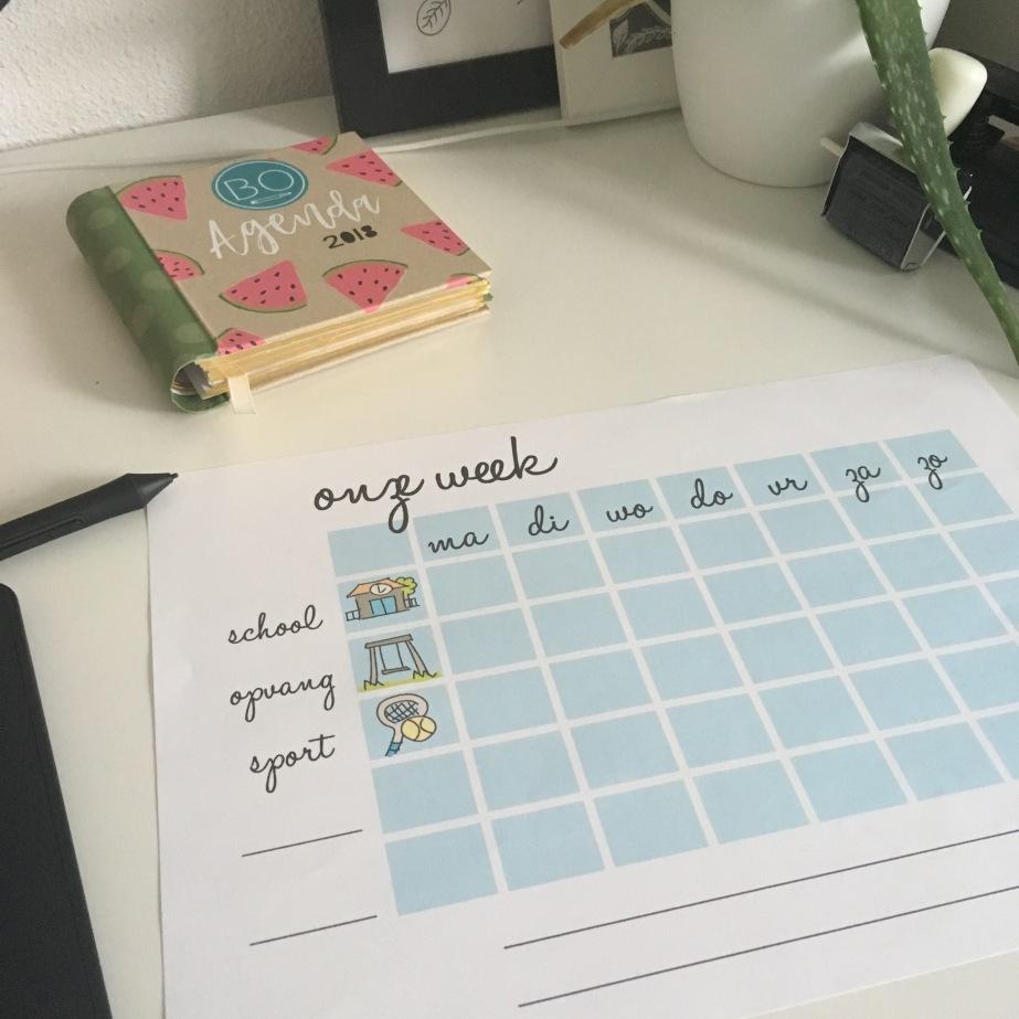 weekplanner om zelf te vullen