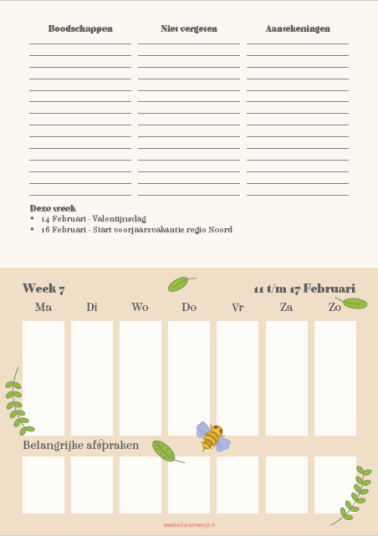 week weekplanner
